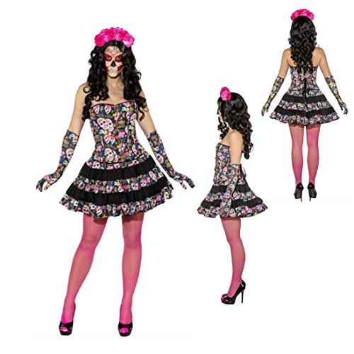 opfrock Rock Dia de los Muertos L 42/44 Halloween Outfit Tag der Toten Minirock Calavera Damenrock Sugar Skull La Caterina Stufenrock ()