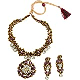 Fashionvalley Brown Crystal Beads Designer Kundan Necklace Set