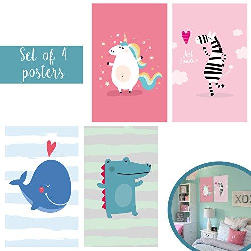 Unconditional Rosie Passendes Set von Vier 11x 17Art Prints Niedliche Tiere für Kinder-Kinder-Einhorn Zebra Wal Krokodil und Spielzimmer Dekor mit Doppelseitiges Montage-Klebeband Enthalten.