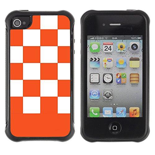 Graphic4You Kariert Muster Design Harte Hülle Case Tasche Schutzhülle für Apple iPhone 4 und 4S (Marineblau) Orange