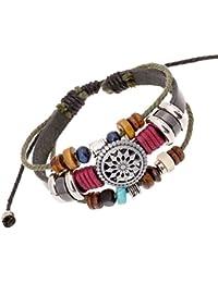 iBegem Magnifique Bracelet ajustable de type Tibétain en cuir noir orné de breloques en bois multicolores et soleil fait main- Cadeau Anniversaire