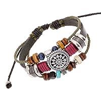 iBegem Magnifique Bracelet ajustable de type Tibétain en cuir noir orné de breloques en bois multicolores et soleil fait main- Cadeau Saint Valentin Anniversaire