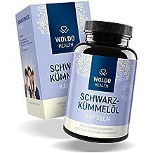WoldoHealth Schwarzkümmelöl-Kapseln ägyptisch kaltgepresst naturbelassen plus Vitamin-E hochdosiert Softgel-Kapseln 180 Stück