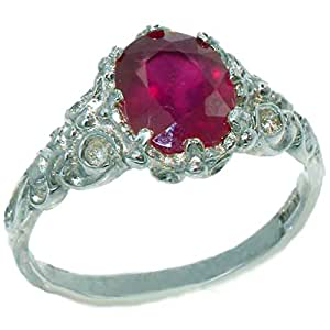 Luxurious Solid Sterling Silver Natural Ruby Solitaire Engagment Ring - Size J - Finger Sizes J to Z Available
