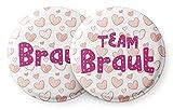 Süße Junggesellinnenabschied Buttons mit Herzen – 12 Schöne Junggesellenabschied (JGA) Accessoires im Set - Die Anstecker sind ideal als Geschenk für die Braut und Ihr Team (Team Bride)