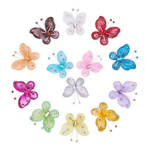 BENECREAT 52 PCS Verschiedene Farben (4pcs / color) Nylon Glitter Schmetterling Hochzeit Tisch Scatter Scrapbook Handwerk Karte Dekoration