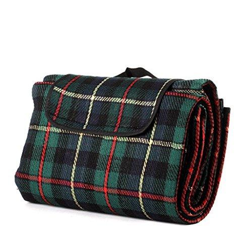 Honeystore 200*150 Kaschmir Picknickdecke mit wasserabweisender Unterseite Grün