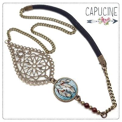 Headband avec Cabochon Verre Plumes Attrape Rêves Bleu et Marron, Estampe et Chaîne Bronze, Accessoire Cheveux avec Élastique