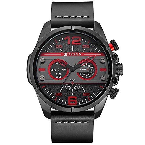 XLORDX Curren XXL Herren Armbanduhr Chronograph Schwarz Edelstahl Leder Rot Quarz Analog Sportuhr