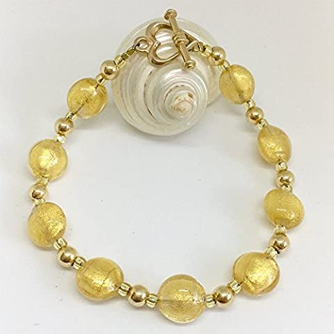Diana Ingram crystal gold Murano glass oval bead (10mm) bracelet
