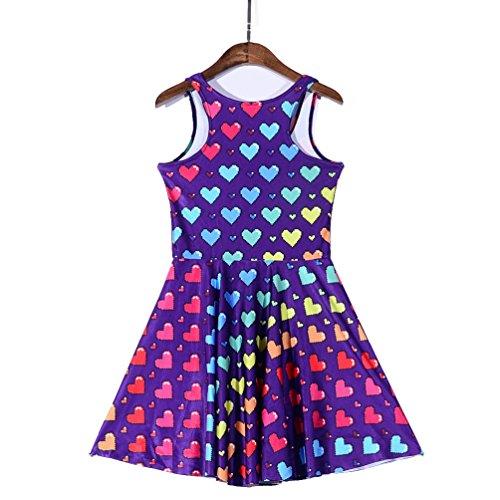 JTC Femme Robe Imprimé Mini Sans Manche Robe Plissé Vintage Elastique Taille Unique cœur coloré
