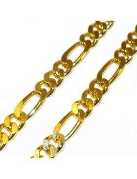 Figarokette 18kt vergoldet 7mm Länge wählbar, Halskette Goldkette Herren-Kette Damen Geschenk Schmuck ab Fabrik...
