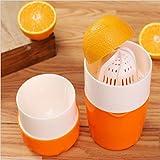 Manuelle Entsafter Orangenpresse Handpresse Zitrone Saft Presse Plastik Tragbar für Orangen(Orange)