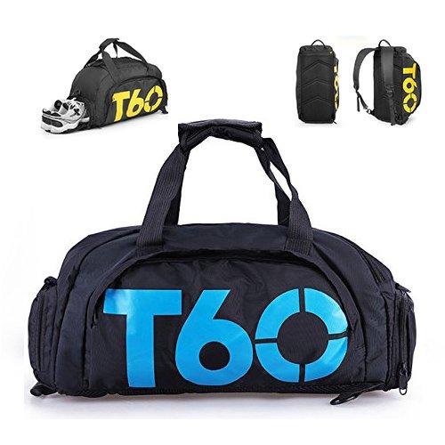 Ducomi 3b1 - borsa borsone zaino da palestra tutto in uno in nylon multifunzionale e impermeabile con ampio scomparto per scarpe e fondo imbottito per palestra, viaggio, yoga o pilates (black/blue)