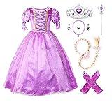 JerrisApparel Ragazze Vestito Abbigliamento Abito da Principessa Costume (110cm, Viola con Accessori)