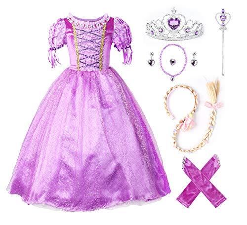 Kleid Kostüm Mädchen Zubehör - JerrisApparel Prinzessin Rapunzel Kleid Kostüm (130cm, Lila mit Zubehör)
