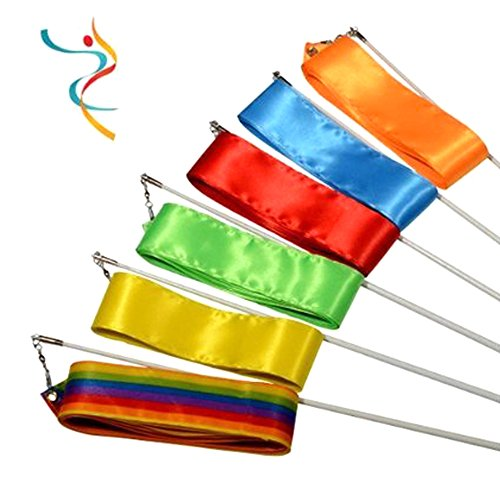 Fletion 4 m Gym Dance Band Rhythmische Art Gymnastikreifen Farbige sribbons Ballett Streamer gezwirbelt Rod Stick Einheitsgröße Orange + Blue + Red + Green + Yellow + Colorful (Guard-streamer Color)