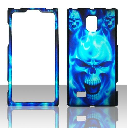 2D blau Skull LG Spectrum 2/Verizon Fall Hard Handy Snap auf Cover Fall Displayschutzfolie (Lg Wireless Verizon Handys)