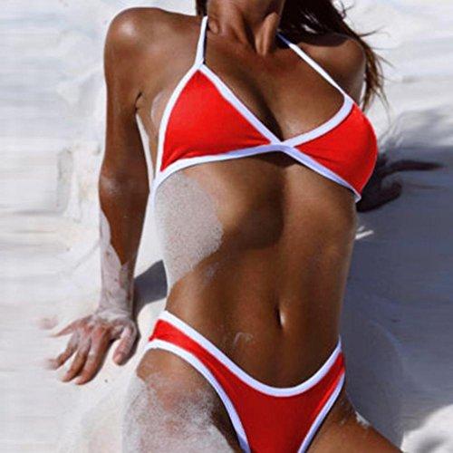 Costumi da Bagno Eleganti,Kword Donne Push Up Reggiseno Imbottito Bikini Top Set Rosso