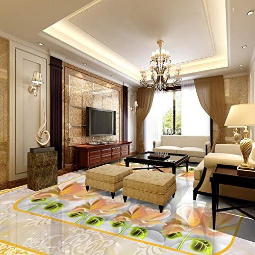 Lxsart Bodenaufkleber Europäischen Stil Muster Schattierung Stein 3D Boden Stereo rutschfeste benutzerdefinierte Badezimmer Wohnzimmer Wandbild Tapete-350cmx245cm