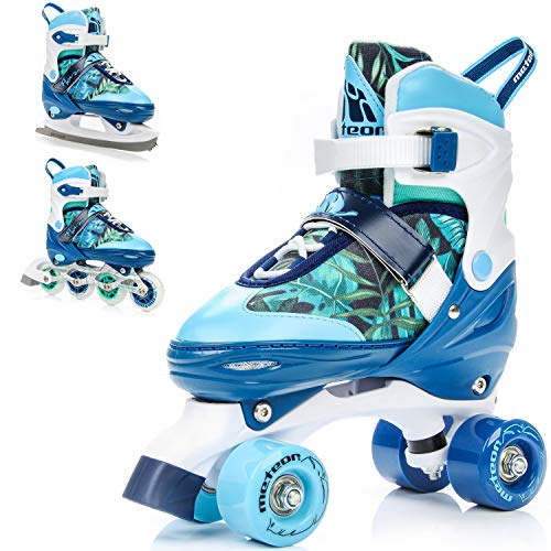 meteor® 3in1 Inline-Skates - Rollschuhe - Schlittschuh - Kinder Damen Rollerskates Set - Dieser Schuh ist im Sommer als Inline-Skates Rollschuh -im Winter als Schlittschuh -S(31-34)-M(35-38)-L(39-42) -