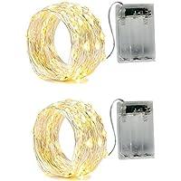 2 X Catena Luminosa Luci Stringa 20LEDs Ghirlanda 2m filo d'argento Batteria Operazione 2 Modalità Flash per Festa/ Matrimonio/ Giardino/ Natale, bianco caldo