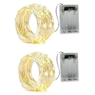 2 x Guirnalda luces,2 Modo Luz Plata Alambre Cadenas 16.5ft 50 leds para dormitorio Navidad Celebración Boda Decoración, blanco cálido,