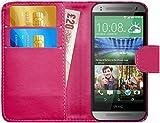 G-Shield HTC One Mini 2 Hülle mit Kartenfach Ledertasche Klapphülle PU Leder Schutzhülle Tasche Flip Case Cover Etui Handyhülle mit Displayschutzfolie und Stylus - Rosa