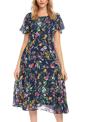 Women Floral Print Short Ruffle Sleeve Flowy Chiffon Midi Dress