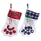 RedMaple Christmas Stockings 2Pcs Plush and Cotton Candy Bags Pet Paw Pattern for Holiday Home Xmas Decorations 18 inches
