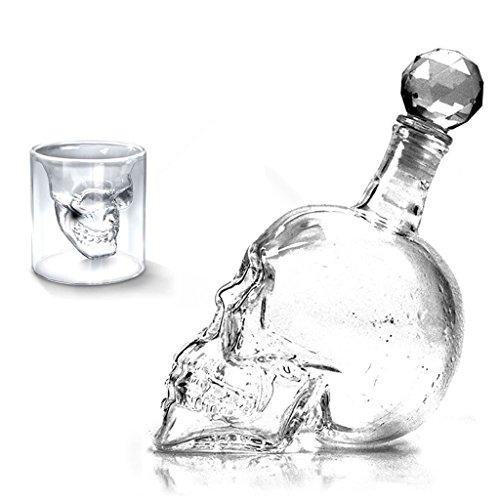 73ml und 1000ml Kristallschädel Kopf Wodka Schuss Trinken Ware Glastasse für Zuhause bar