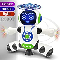 FunBlast Dancing Robot with Music, 3D Flashing Lights,360 Degree Rotation Toy Robot for Kids/Boys - Multicolor (Battery…