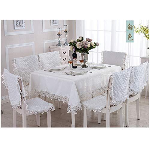 MeiMei Table de Salon Blanche en Dentelle idyllique Nappe Salon Tissu Tissu de Meuble TV (10 Tailles Disponibles) (Taille : 90X150CM)