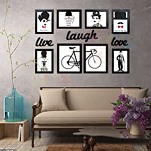 Art Street - Live Laugh Love Gallery Wall Set of 8 Individual Black Wall Quotes Framed Wall Poster with Art Prints + Live Laugh Love Cutout #wallessential