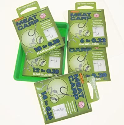 FTD - 30 (5 packs of 6) MIDDY MEAT CARP Barbless Fishing hooks with Knotless Hair & Meat Screw System - sizes 6, 8, 10, 12 & 14 comes with a FTD Bait Box by MIDDY
