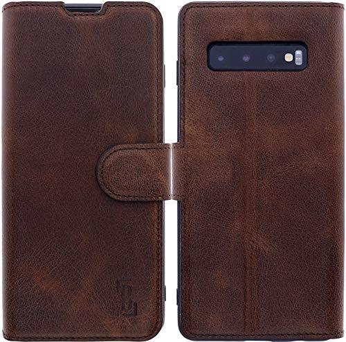 Burkley Lederhülle passend für Samsung Galaxy S10 Handyhülle - Handytasche Hülle für das Galaxy S10 mit Kartenfach - Echtes Rindsleder (Kaffee Braun)