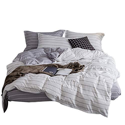 Luofanfei Grau Weiß Bettwäsche King Size 220 x 240 cm Geometrisch Gestreift Bettbezug 3 Teilig Streifen Muster Anthrazit Microfaser Hypnosis