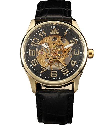 Sewor Rose Gold Mens Mechanical Hand Wind Skeleton Transparent Wrist Watch (Black)