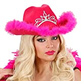 NET TOYS JGA Cowgirl Hut pink Westernhut Cowboyhut Damen Junggesellinnenabschied Accessoires Sommerhut rosa Western Hut rosa Plüschhut