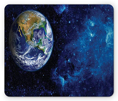 VAICR Mauspad Galaxy Mouse Pad,Celestial Theme View of The Earth from The Moon with Dark Outer Space and Universe,Non-Slip Rubber Base,Laser Optical Mouse Compatible
