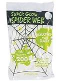 Nachtleuchtende Spinnweben UV aktiv Spinnennetz leuchtend weiß mit 10 nachtleuchtenden Spinnen im Set Halloween Megapack glow in the dark