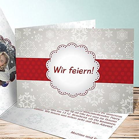 Weihnachtsfeier Einladungen, Mistelzweig Foto 55 Karten, Horizontale Klappkarte 148x105 inkl. weiße Umschläge, Grau