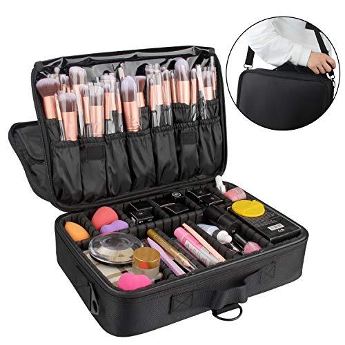 Travelmall Profi-Kosmetikkoffer für die Reise, dreischichtig, 34 x24 x 11cm, Schultergurt verstellbar, für Make-up-Pinsel, Styling-Tools, Maniküre-Zubehör usw., passt auf Rollkoffer schwarz