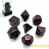 Bescon Polyhedral Dice Set Opaque Black with Red Numbers, Black RPG Dice Set of 7 d4 d6 d8 d10 d12 d20 d% Brick Box Pack