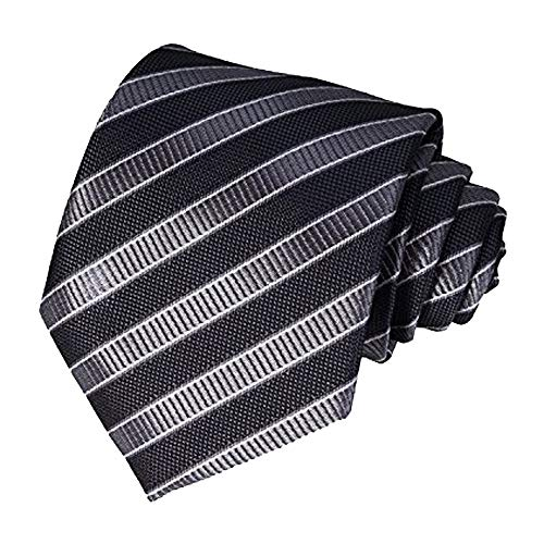 AVANTMEN Herren Krawatte/Einstecktuch/Krawatte/Einstecktuch/quadratisch, kariert, mit Geschenkbox, gestreifte Krawatte + Einstecktuch, Schwarz/Grau