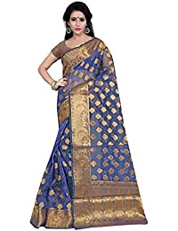 Silk Zone Women's Banarasi Silk Blue Silk Saree With Blouse Piece(NSILKZ00103_Blue_Free Size)