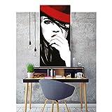 Sexy Frau mit Hut in schwarz-weiß als großes Poster - liebevoll illustriert als hochwertiges Wandbild - cool und aufregend für das Jugendzimmer oder die Studentenbude von TOPPOSTER