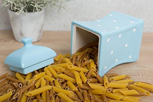 Ville au Cottage lumière bleu ciel et blanc | | à pois faite main peinte à la main | Grande 893 gram/900ml bocaux de cuisine en céramique avec couvercle | Boîtes Alimentaires Boîtes de |