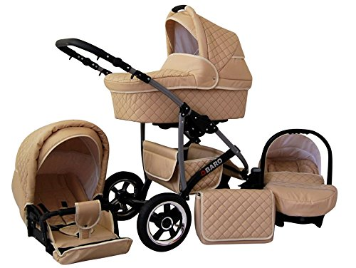 Lux4Kids Kinderwagen Komplettset (Autositz & Adapter, Regenschutz, Moskitonetz, Schwenkräder; 9 Farben) 03 Creme Q-Bus