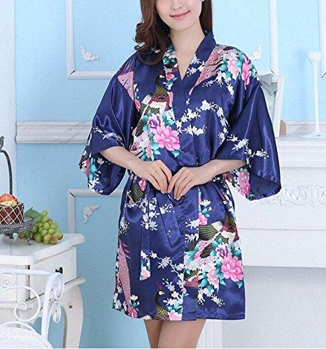 OKDRESS Damen Nachthemd Marineblau